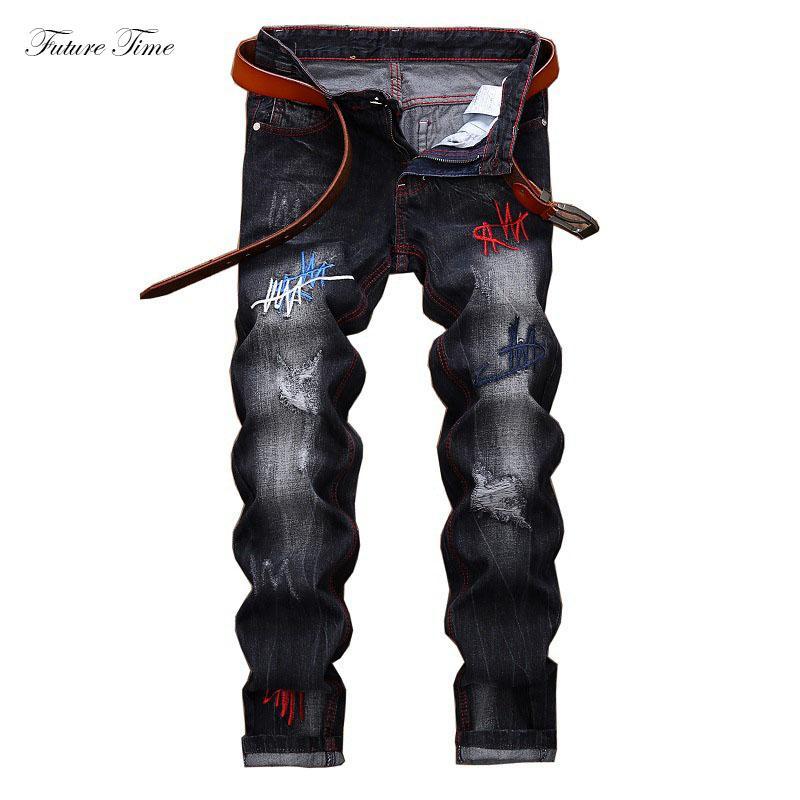 Homens Jeans 2020 Jeans rasgado por Homens bordado denim lavado calças clássico do motociclista Regular Fit Marca Skinny Pants C1480