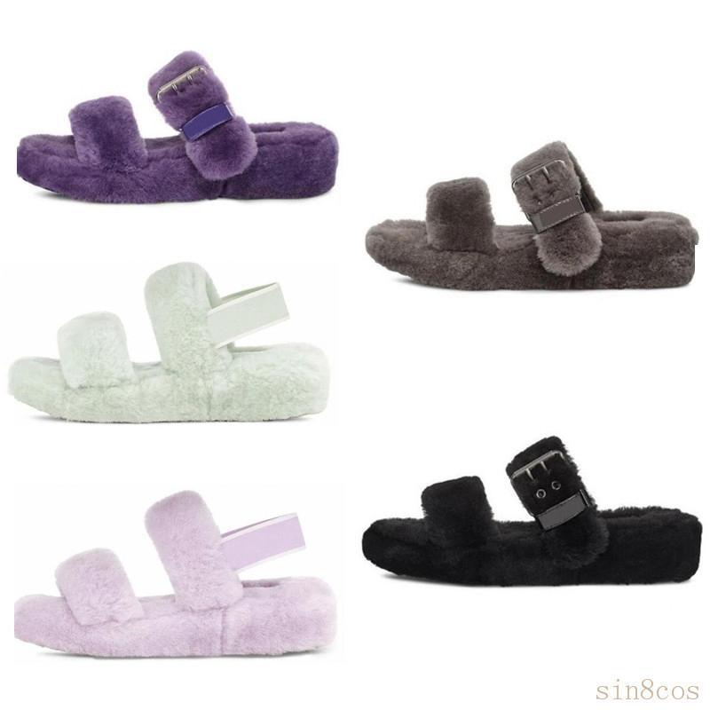 2020 Nuova in Australia fluff oh sì donne moda casual soffice finto diapositive pelosi inverno pantofola fuzz pantofole donne pelliccia di visone sandali 38bu #