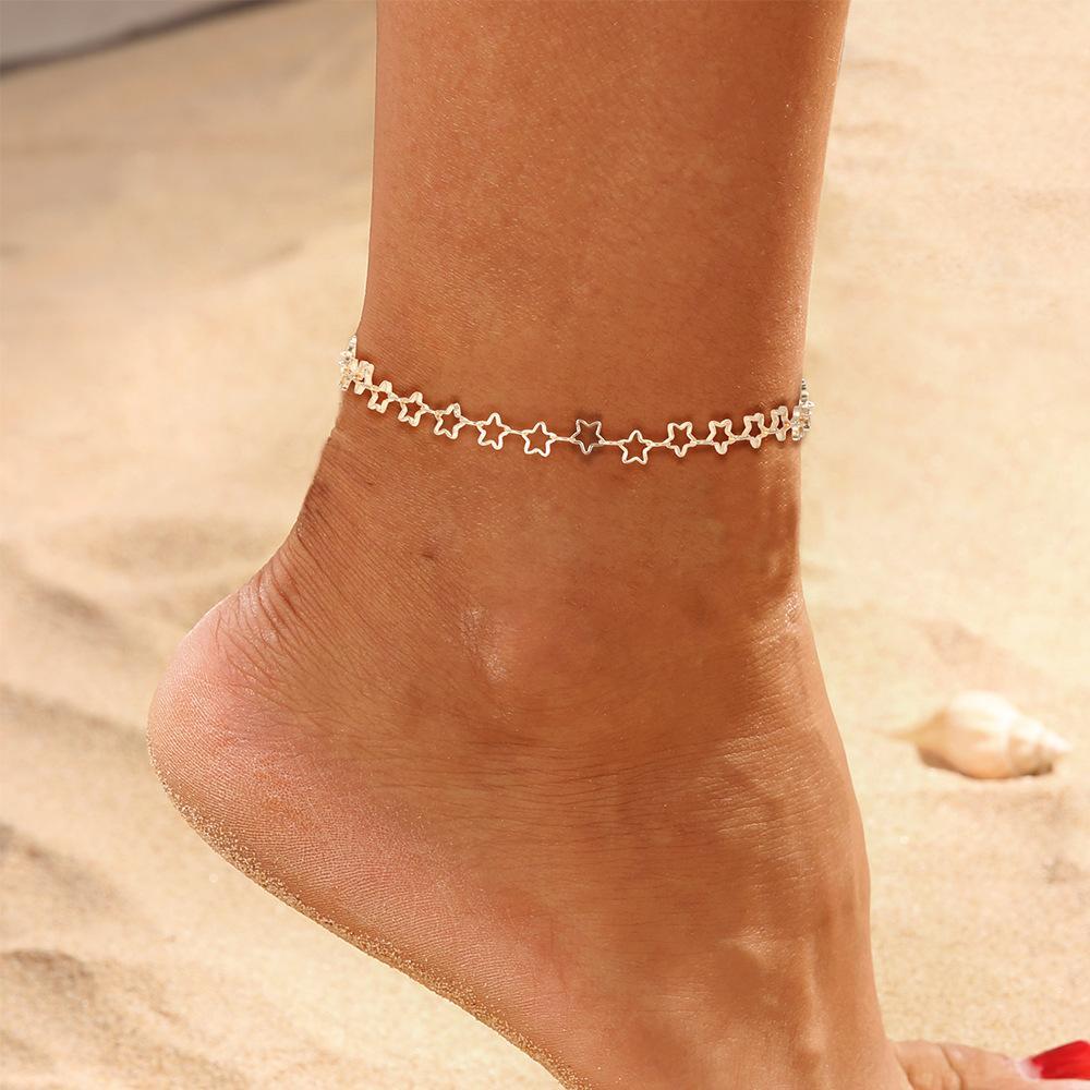 Mehrere Lagen Fußkettchen für Frauen Retro Elefant Sun Anhänger Fuß Schmuck barfüßigsandelholze Knöchel-Armband auf dem Bein New Star Anhänger Fußkettchen