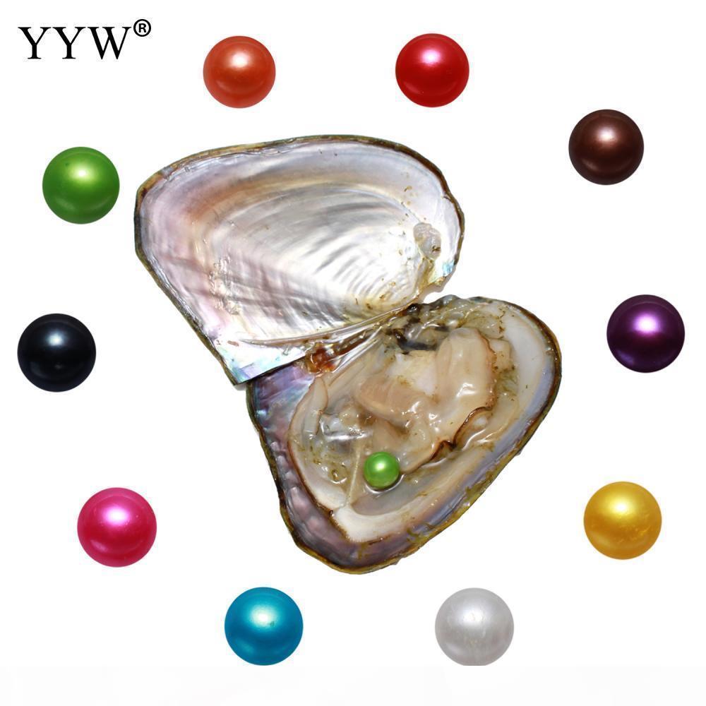 10pcs mucho cultivadas de Akoya Sea Pearl Oyster multicolor perlas Nueva joyería llegada de cumpleaños regalos de las mujeres J190702