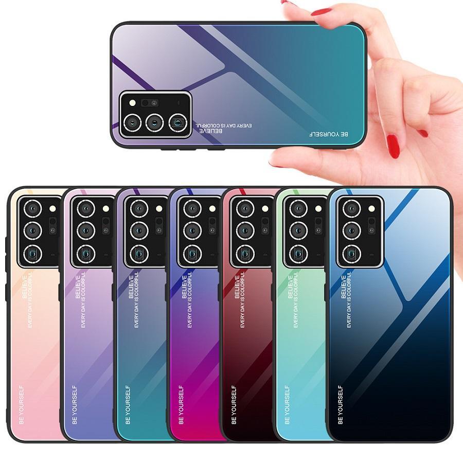 Оптовая Gradient закаленное стекло телефон чехол для Samsung Note20 Ультра Note10 Plus 9 8 Радуга цвета Обложка для Galaxy S10 5G S9 S8 Plus A51