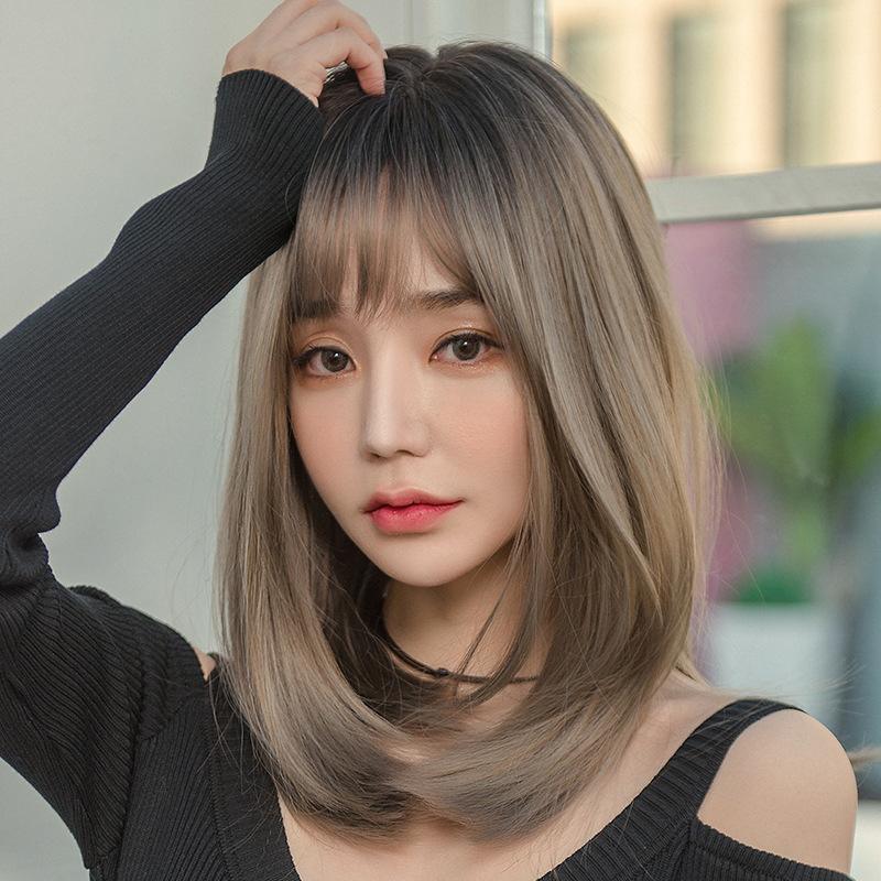 Wig female medium long hair straight lifelike natural full headgear cover pseudo-girl net red clavicle Japanese and Kore