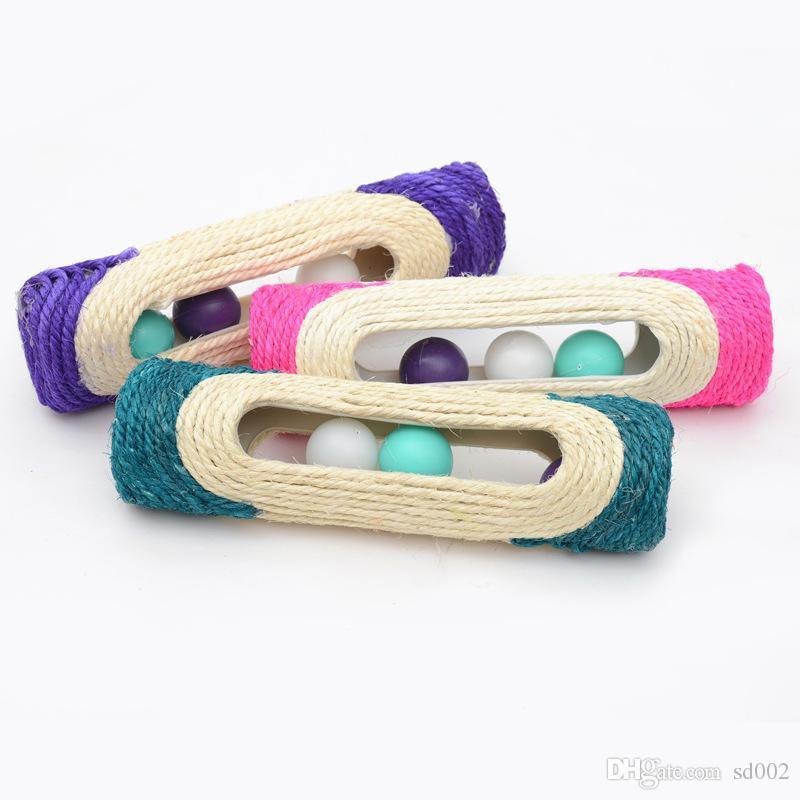 Sisal gato Knitting Scratchers estilo longo Barrel Tipo Gatos Brinquedos Com 3 Ball som resistentes ao desgaste Pet Shop duráveis 7 ff 2MC