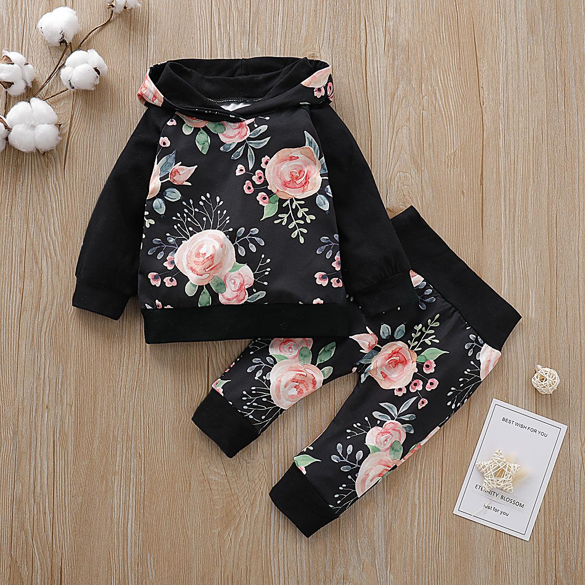 0-24M جديد الخريف الشتاء الزهور مجموعة ملابس مقنع البلوز الأعلى + سروال للاطفال حديثي الولادة طفل 2PCS / SET 2019 ملابس طفلة Y200803