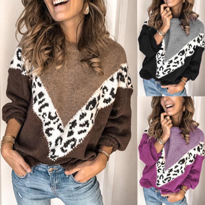 Mode Femmes Leopard Patchwork Pull Automne Hiver manches longues O Neck Pulls dames en vrac tricoté overs Tricots