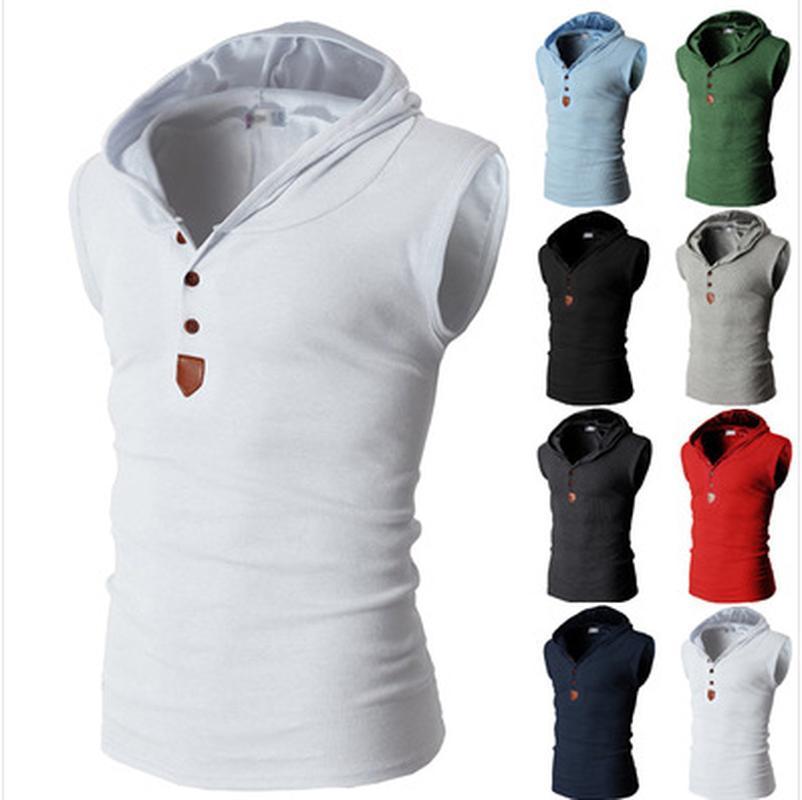 Katı Renk Erkekler Yelek Pamuk Çok renkli Kapşonlu Erkekler Casual Yaz Pamuk Yelek Ropa De Hombre 2020 Erkek Tank Shirt