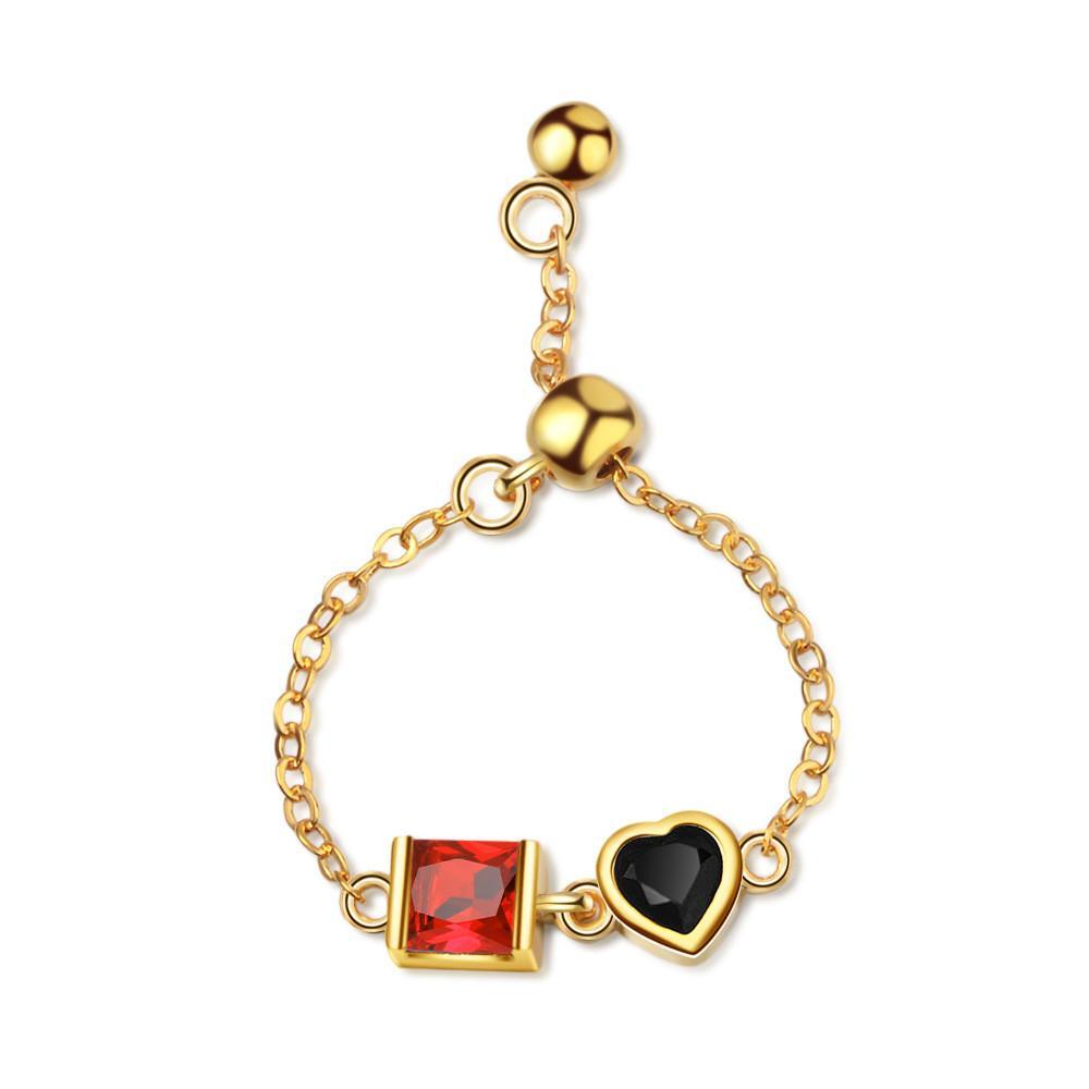 Anneaux à la Chaîne Femmes Femmes Love Heart Engagement Bague de mariage Rouge Noir Cz Crystal Cubic Zirconia Mode Bijoux 245