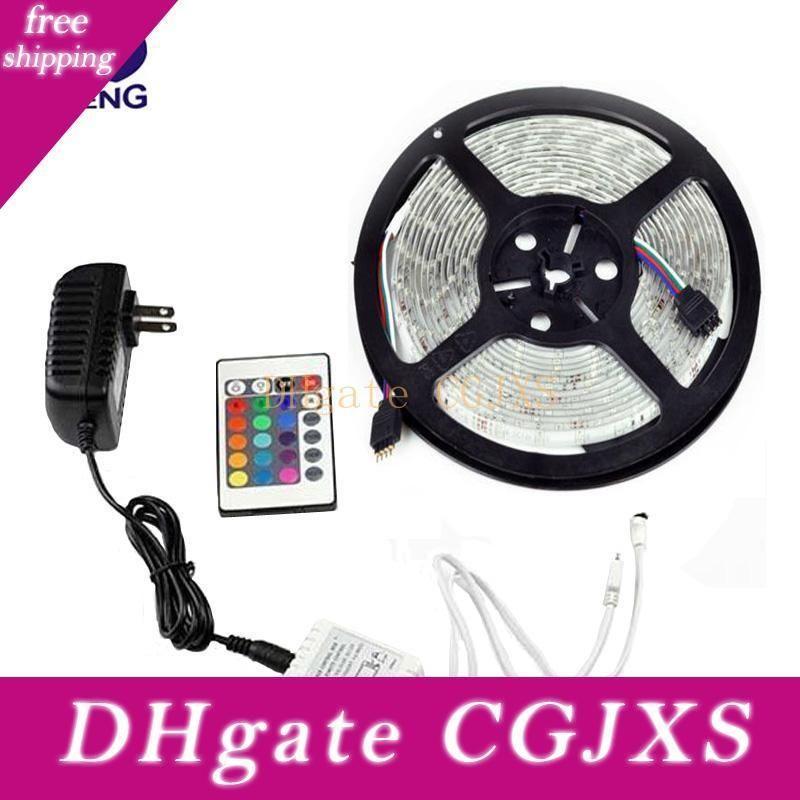 Atacado -3528 Led Strip RGB Impermeável SMD 300 Leds Diode 5m Ip65 Tape Set 24 Chaves IR Remote Controler 12v 2a Discount Power Adapter