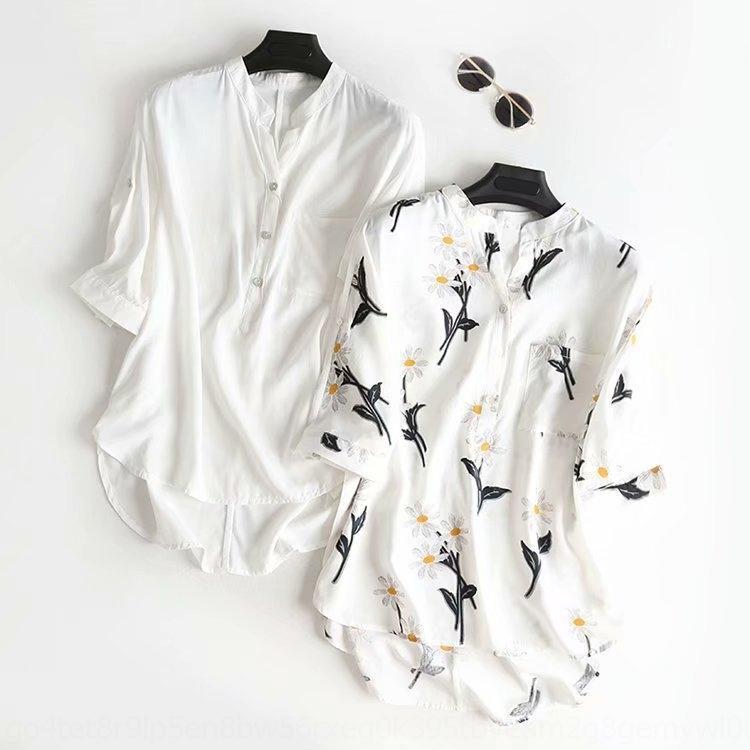 sXxRB femmes 2019 été nouvelle fleur de couleur unie col V imprimé recadrée chemise chemise à manches pour les femmes F3505