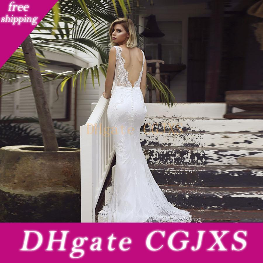 Beautiful Simple Lace Wedding Dresses Mermaid Sexy Low Backless Court Train Sleeveless Bridal Gowns Ml9317 Grecian Wedding Dresses Informal Wedding Dress From Fdfesss 416 23 Dhgate Com