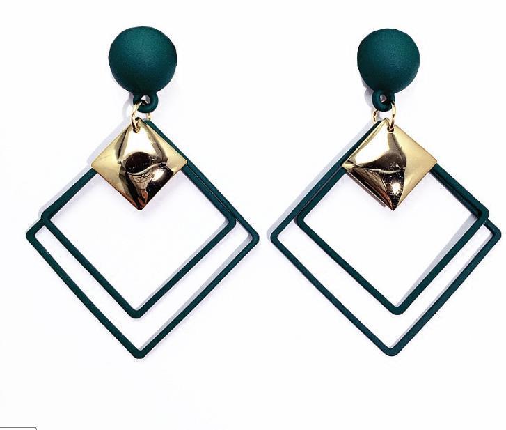 Geométrico verde Cube S925 Silver Eardrop Pin para-match Todas os estilos de mulheres modernas New Rhombus Dangler