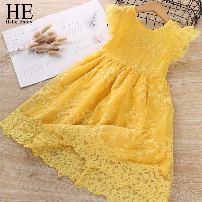 HE Hallo Genießen Baby Kleider Kinderkleidung Sommer-Rüsche-Hülsen-Blumen-Prinzessin Kinder Kleidung beiläufiges Kleid Vestido