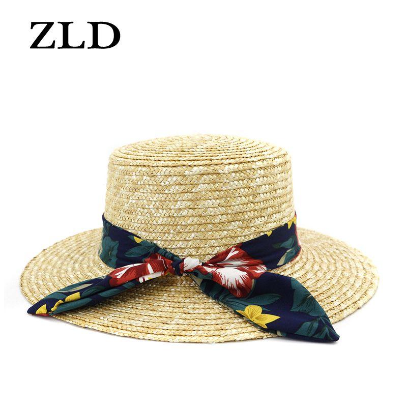 ZLD лето широких полей соломенных шляп больших солнечные крышки для защиты женщин УФ-панама дискеты пляжных шляп дамы лука шляпы милых женщин