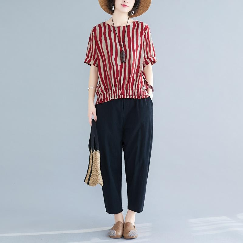 La camiseta del verano de 2020 nuevo estilo de Corea artística de lino rayado simple del todo-fósforo camiseta + pantalones harén sueltos de dos piezas
