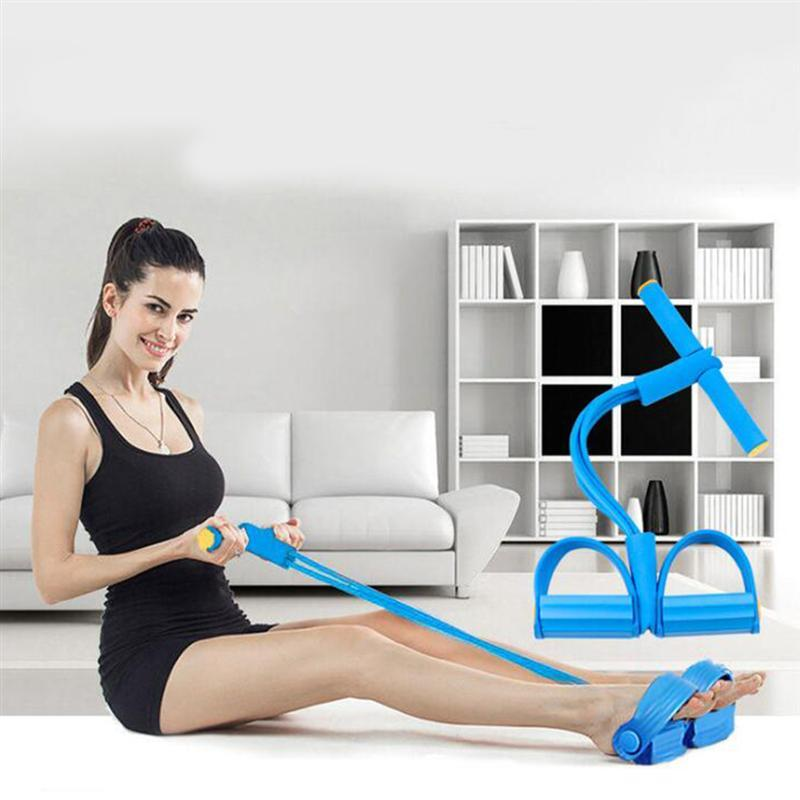 Resistance Bands 4 Tube Indoor Fitness Exercise Equipment Elastic Sit Up Pull Rope Gym Workout Sport Pedal Ankle Puller