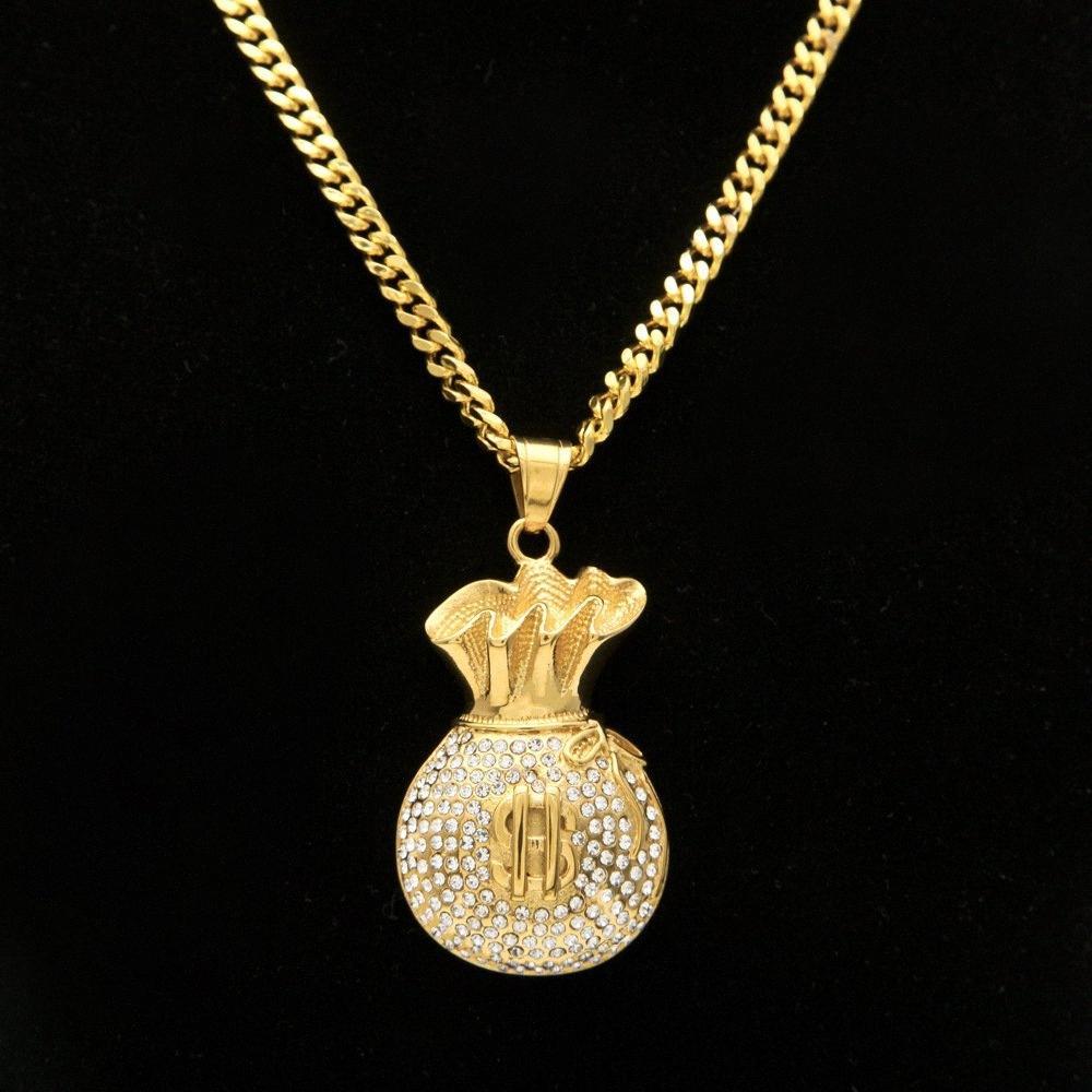Plaqué or Glacé Cz Glitter Cash Money Bag Pendentif chaîne en acier inoxydable Cuban Hip Hop Collier WfvL #