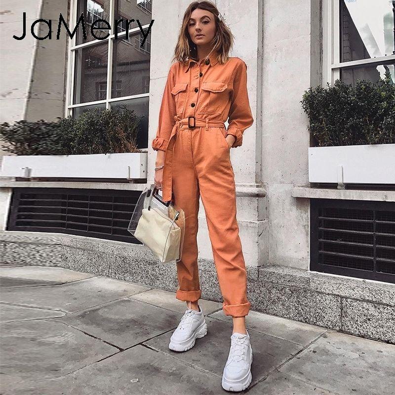 JaMerry Урожай случайного груз хлопок женщины комбинезона пояса оранжевого карман спортивного комбинезон общих Твердая осенью зима ползунки T200824