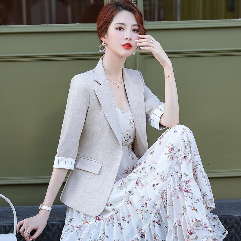 estilo Iqe5p ytoPB coreano pequena paletó novo verão feminino fina cortada manga curta casaco curto 2020 Estilo terno pequena