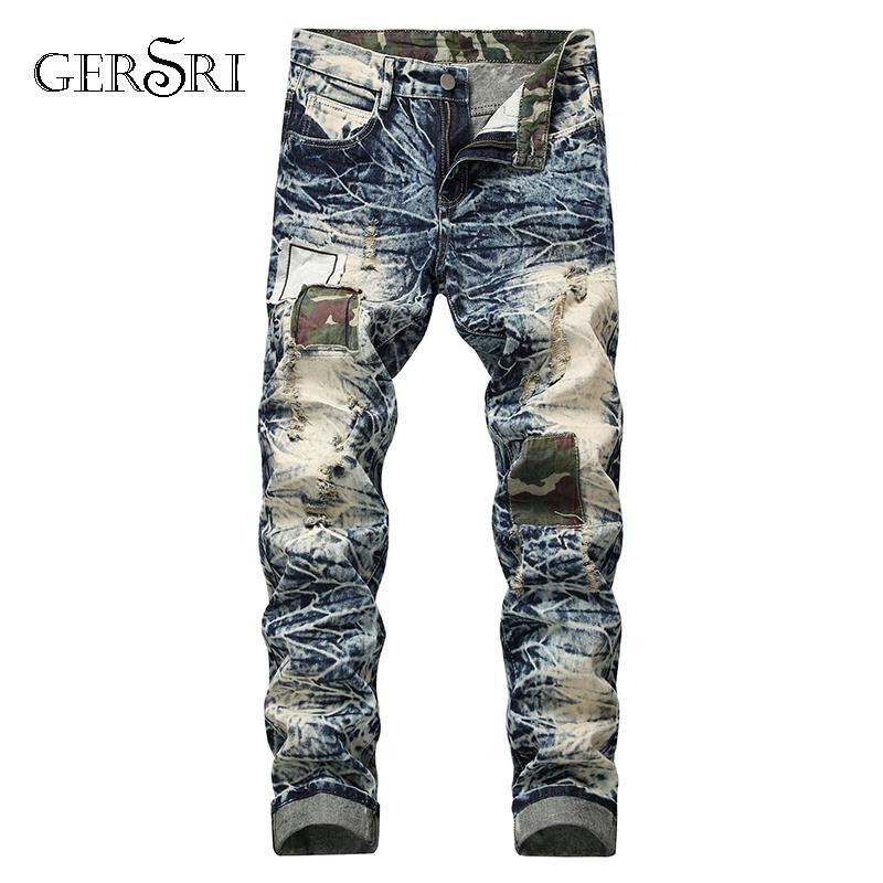 Gersri europäische amerikanische Art Mens Fashion Jeans Luxuxmänner Denimhose Loch dünne gerade Reißverschlussjeanshosen