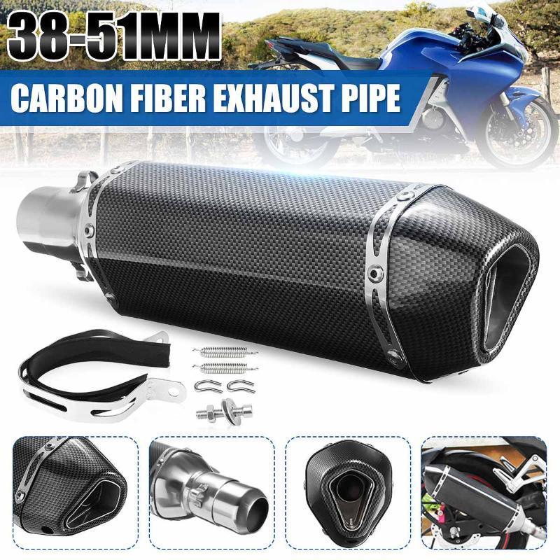 La motocicleta ATV del silenciador del extractor del tubo de acero inoxidable de carbono aspecto de fibra de escape Rombo Outlet 38-51mm pipa del silenciador universal