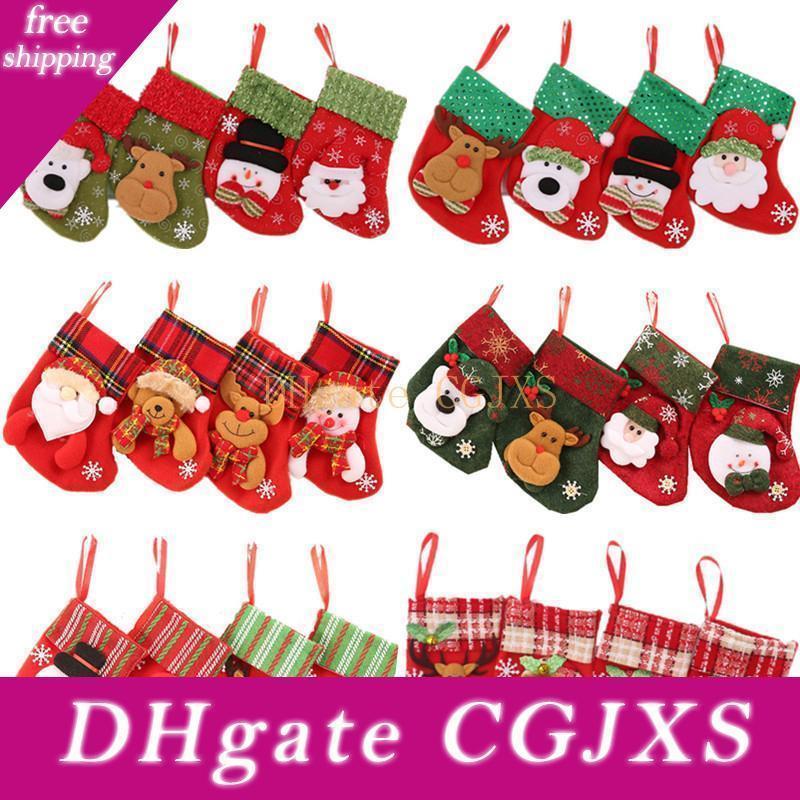 24 Tasarımlar Noel Çorap Hediye Çanta Şeker Çanta Yılbaşı Ağacı Süsleme Noel Baba Noel Çatal Çanta Ev Partisi Dekorasyon Çorap DBC Dh2437