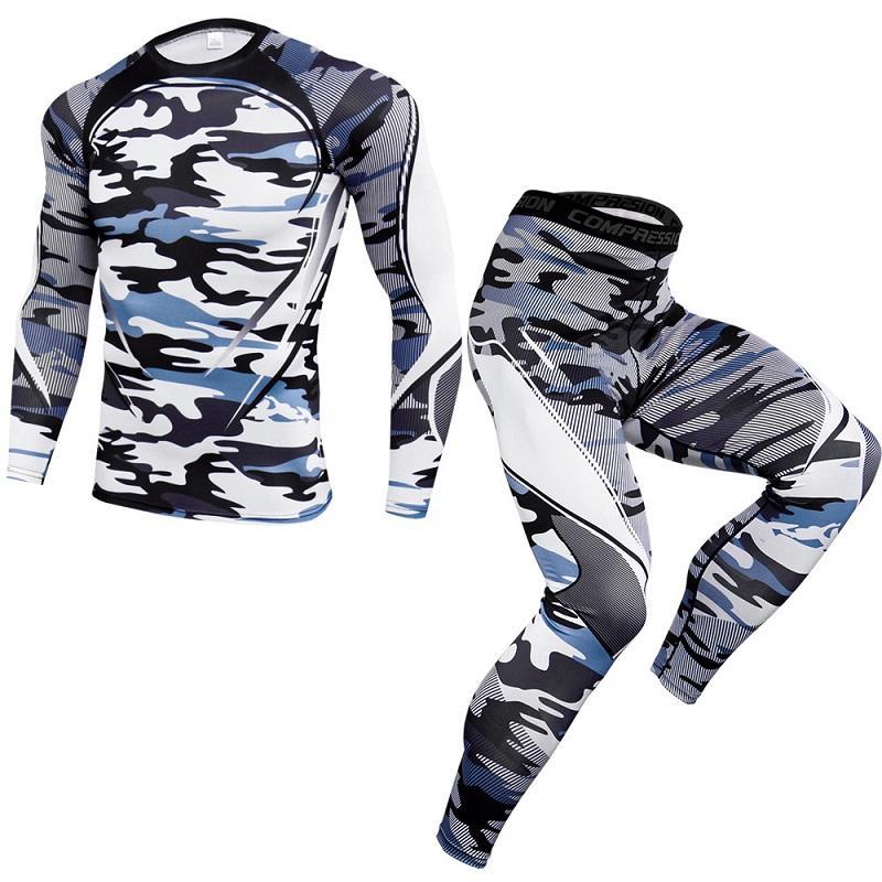 Aptitud de los hombres Conjuntos de chándal de los hombres de compresión camisas + Capa Base polainas de manga larga camiseta Kit de Impresión de fitness ropa interior térmica