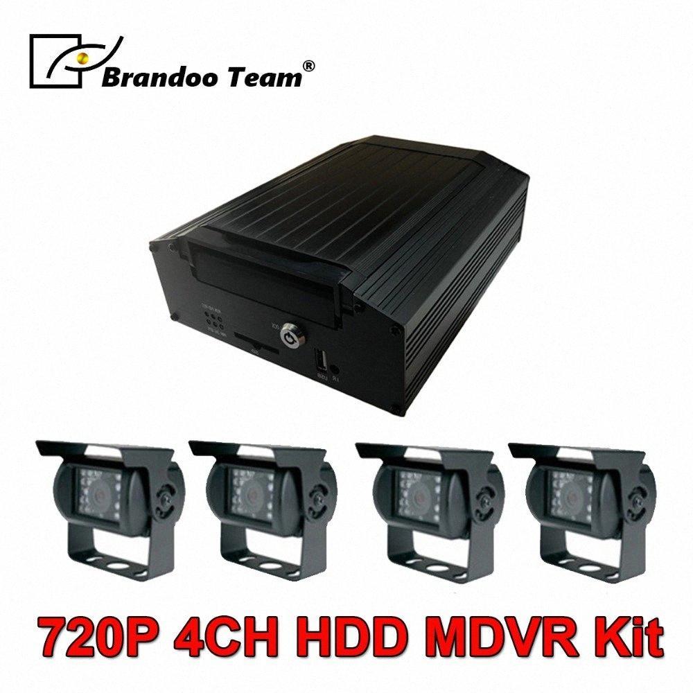 720P véhicule DVR 4 canaux Système mobile DVR HDD Système de caméra voiture avec 4pcs 1.3MP AHD caméra pour camion CCTV mFRV #