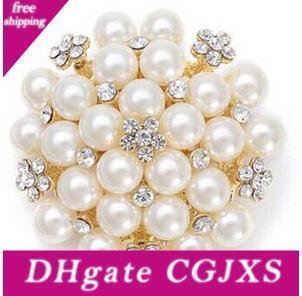 Hot Sale Vintage tono argento con strass di cristallo Diamante E Faux Cream Pearl Cluster Grande Gioielli Bridal Bouquet Spilla Pin 4 colori
