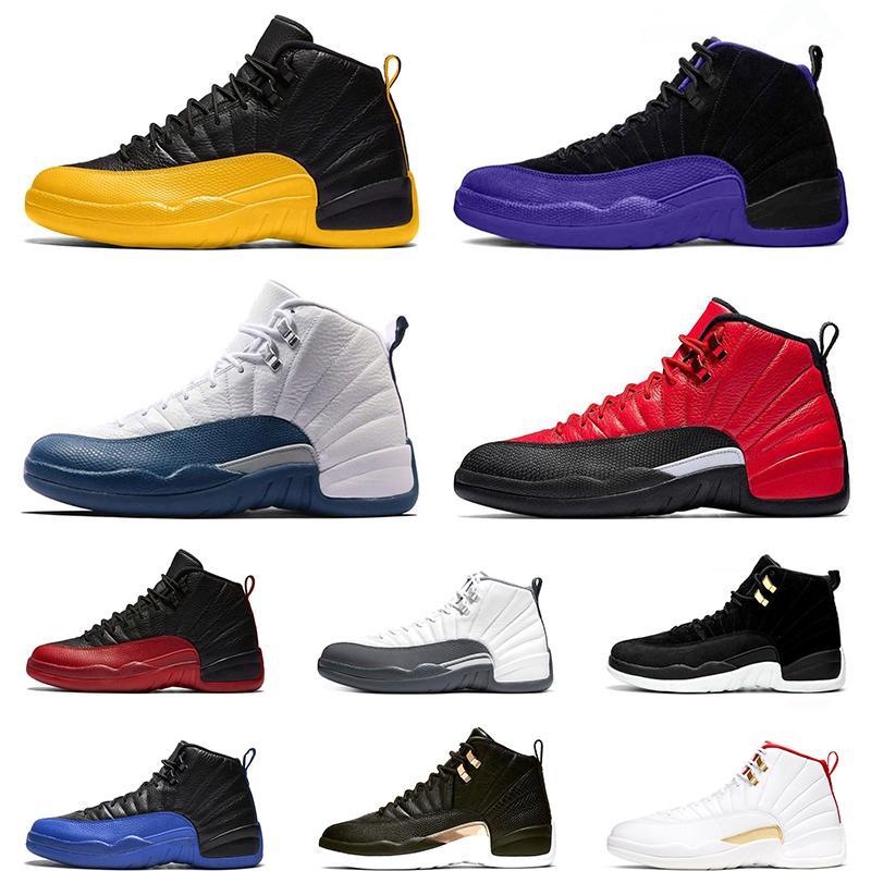 Nike Air Jordan 12 Retro 12 s homens designer de tênis de basquete 12 branco cinza jogo real da meia-noite preto ginásio vermelho athletic tênis esportivos atacado