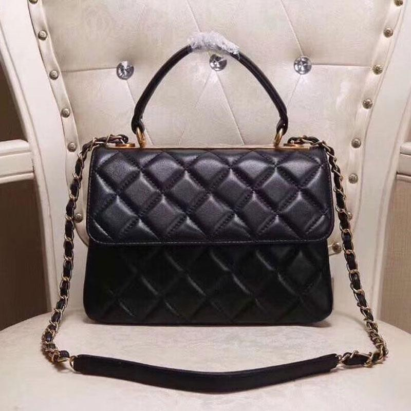 Black Shoulder Crossbody Bags Classic Fashion Clear High Top Quality Genuine Real Leather Women Handbags Purse