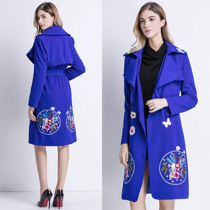 Синяя вышивка пальто для женщин длинных рукавов пальто женского тонких пальто женщина Европейской весна даст jaqueta feminina bai52