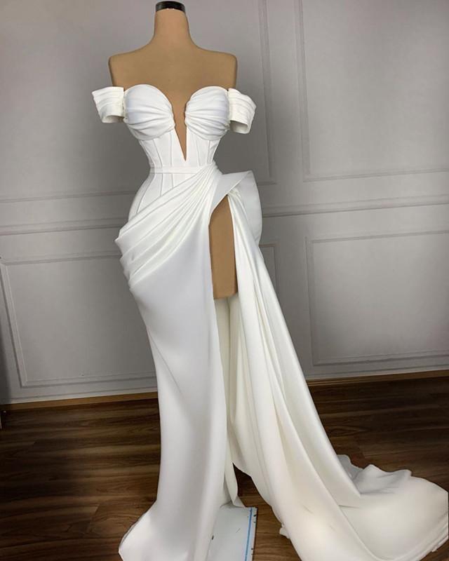Plus Size White Evening Dresses Long 2020 Dubai Mermaid Prom Dresses Women Party Night High Cut Celebrity Gowns Robe Femme