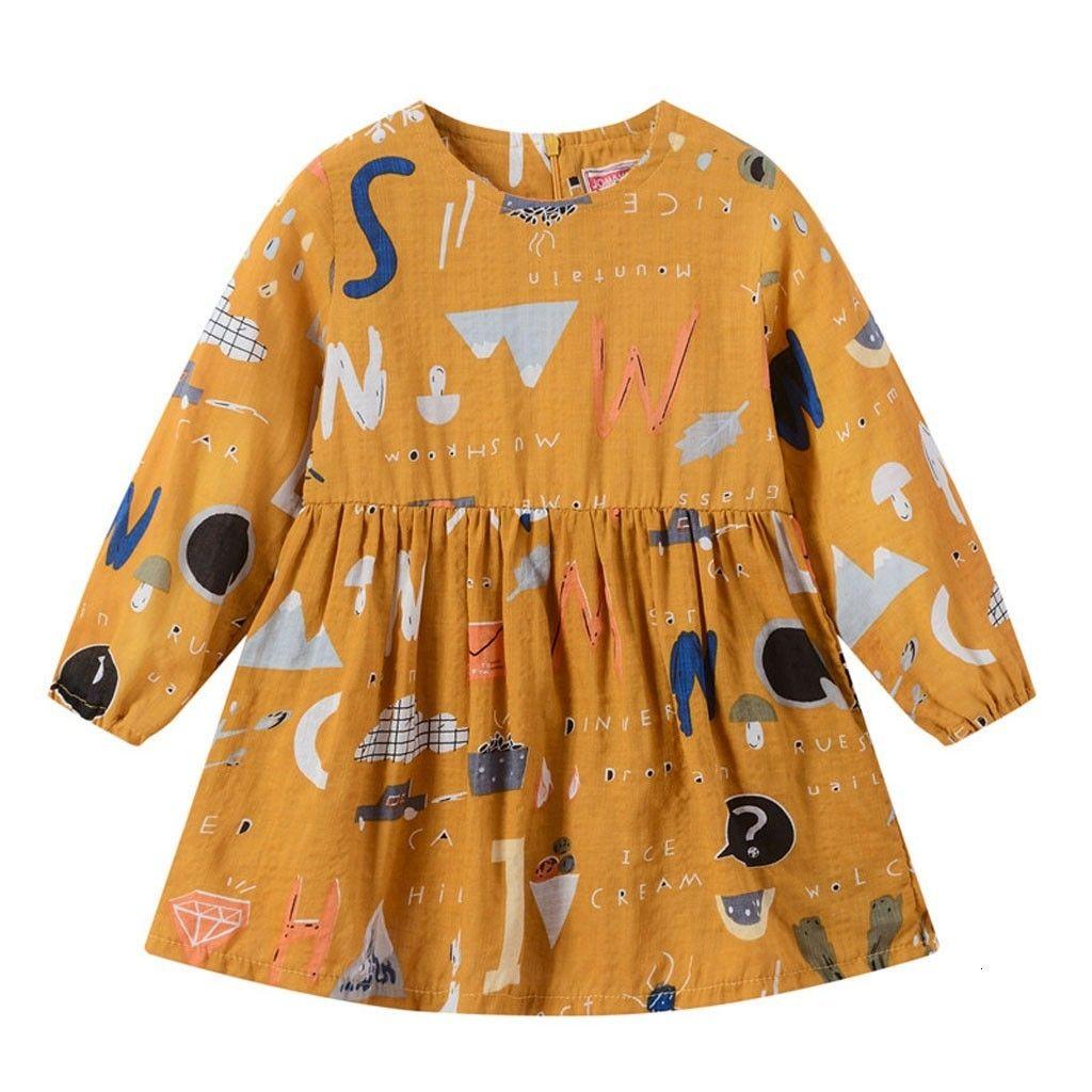 Отличное оформление Newst ребенка платье Мода малышей Детские девочки с длинным рукавом мультфильм молнии Принцесса платья Одежда Z0208