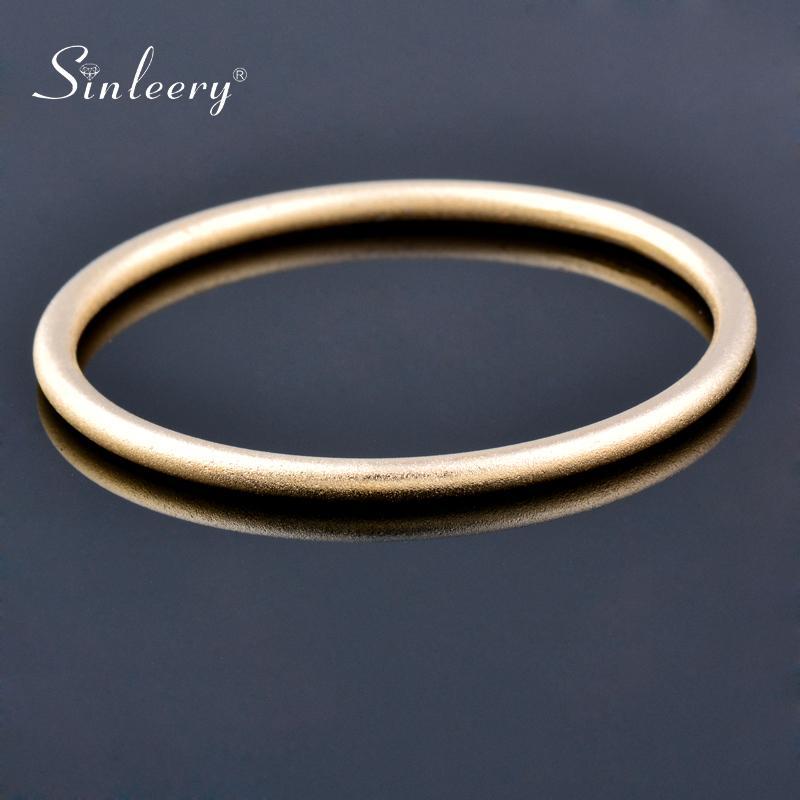 Bangle Sinleery Simply Lisser Cercle rond Femme Lumière Rose Rose Or Argent Couleur Belle amitié Bracelets Bijoux SL001 SSG