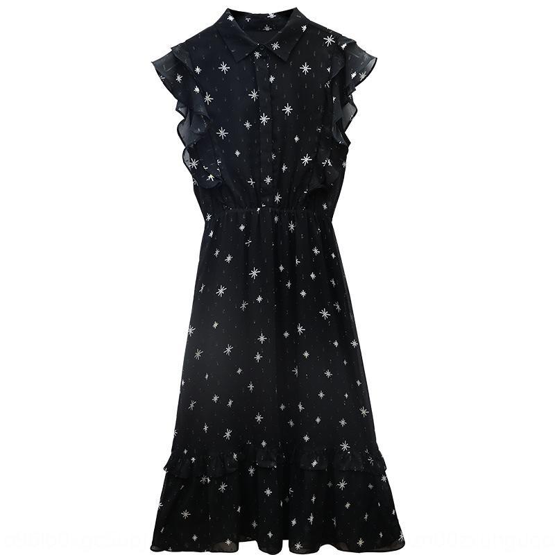 Şifon kadın uzun elbise, uzun etek elbise 2020 Yaz yeni BEL zayıflama Batı tarzı şık yüksek bel siyah çiçek etek yS3ZS