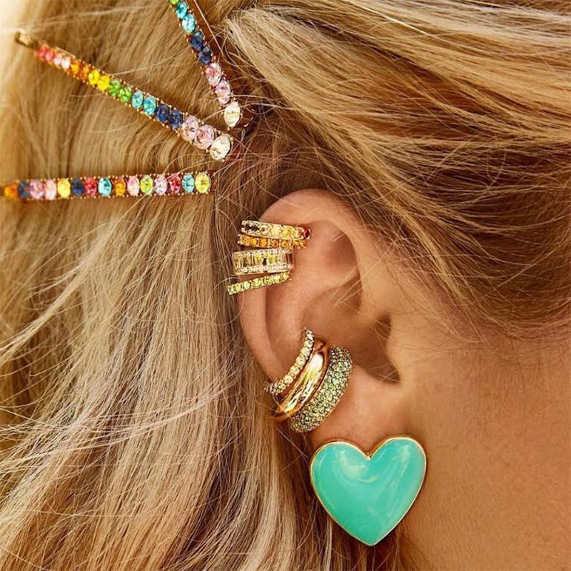 Jujia Мода обруч серьги HUGGIES Кристалл уха Манжеты Non проколол серьги радуги CZ камень ювелирные изделия