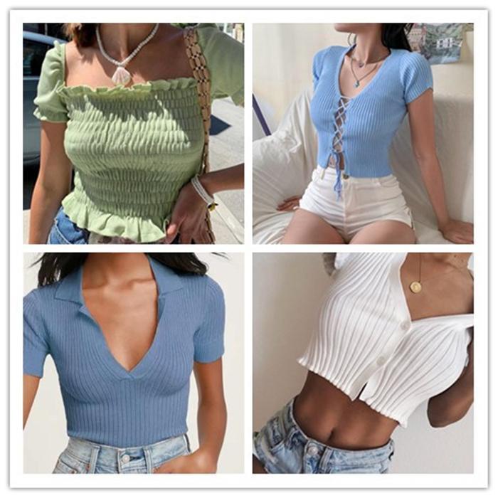 Kadın Knits tişörtleri Moda Slim Yüksek Bel Kısa Kollu Tişörtler Kadın Yaz Katı V Boyun Tops