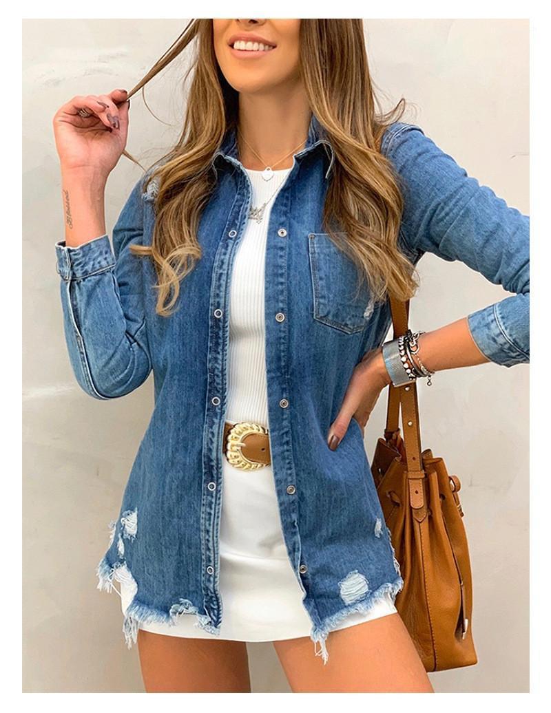 Lässige Weit Taillierte Weibliche Kleidung Holes Womens Designer Jean Jacken Mode Einreiher unregelmäßiger Rand-Frauen Outer