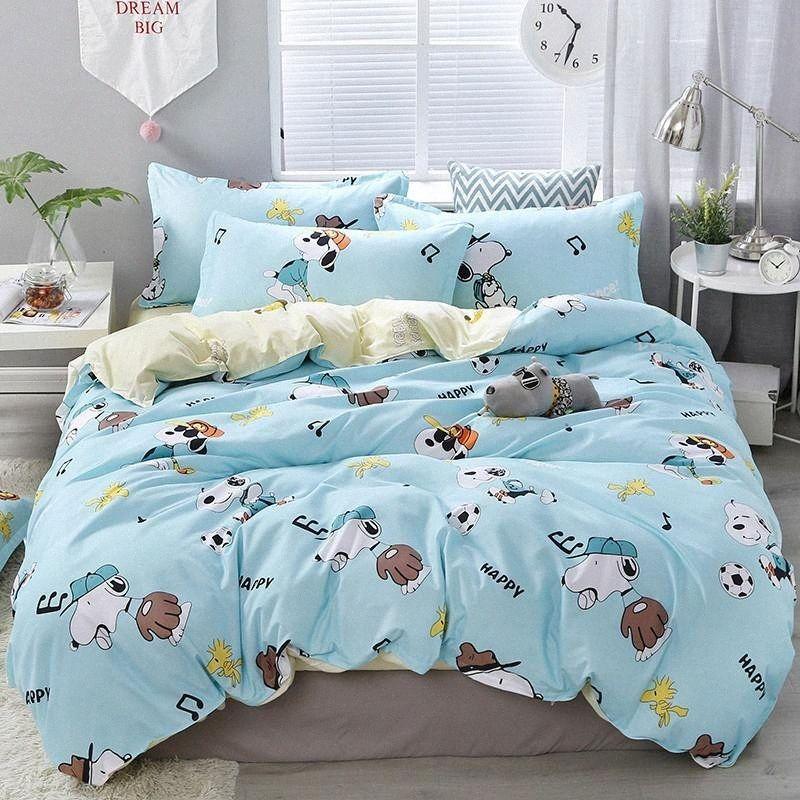 Mavi Köpek Yatak Seti 2020 Yeni Bahar Nevresim Takımı Karikatür Nevresim Nevresim Yastık Kraliçe Yaz Yatak Takımı Pastoral Stil yorgan NgQM #