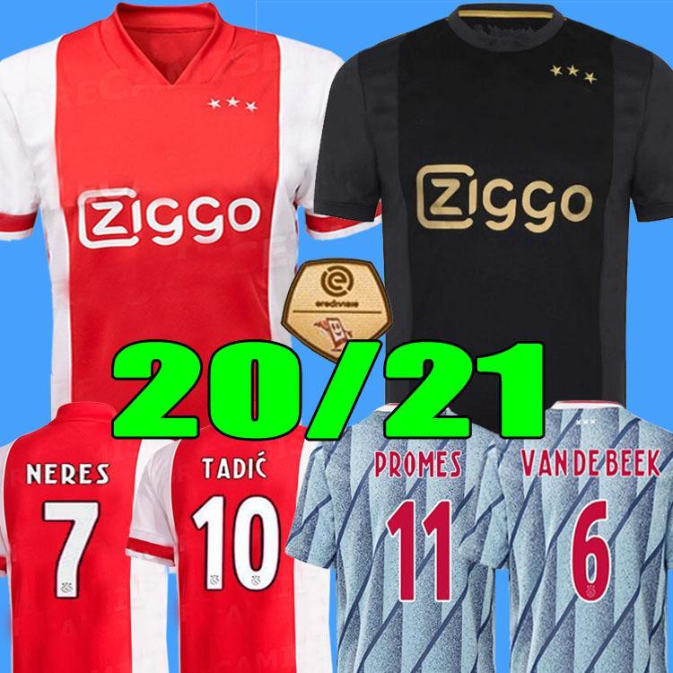20 21 Ajax FC uzak futbol jersey PROMES Ajax VAN DE BEEK NERES 2020 2021 TADIC ZIYECH futbol GÖMLEK ERKEK + ÇOCUK kiti SETLERİ muntazam