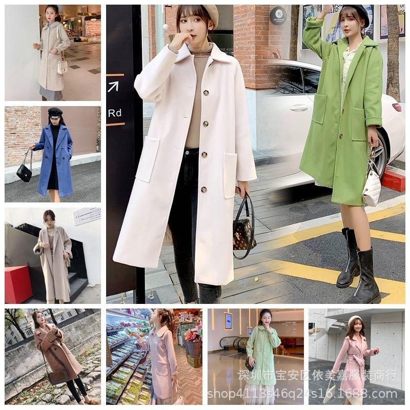 lana 2020 Donna Autunno / Inverno stile New coreano Cappotto in lana allentato cappotto sottile di media lunghezza