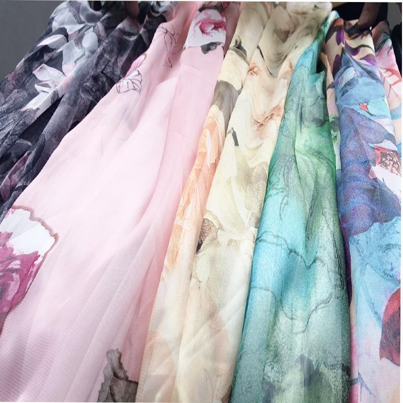 camisa de gasa falda de la playa de la cintura elástico de la nueva corta impresa playa bohemia del estilo de la falda estilo mX5t7 coreana para las mujeres