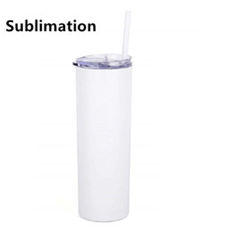 DIY Blank 20 Unzen Sublimation dünne Tumbler Double Wall Edelstahl vakuumisolierte Wasser Tassen Gerade Cup OOA9001