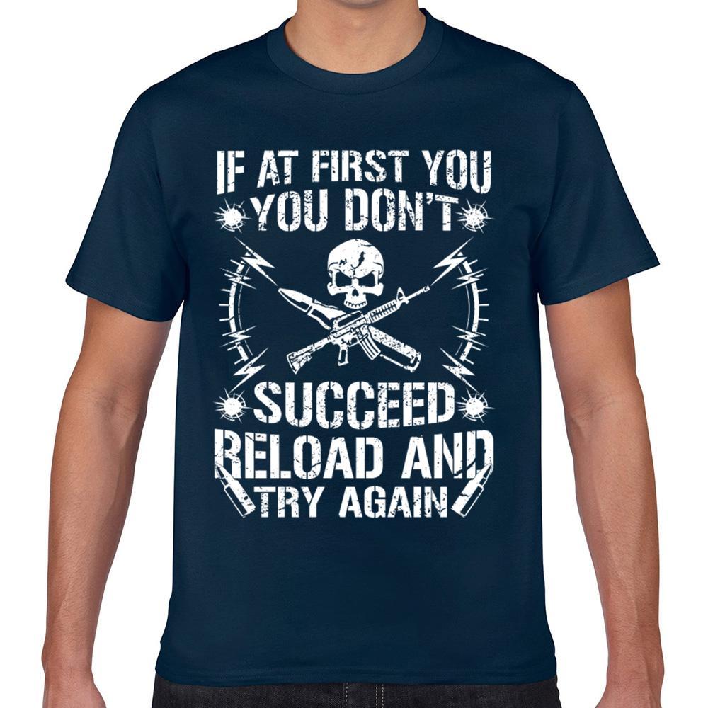 Tops T shirt da uomo Se in un primo non si riuscirà Ricarica e riprovare Comic Iscrizioni corto maschile maglietta