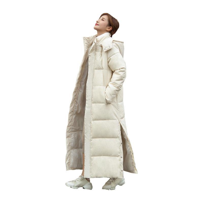Frauen x-lange Winterjacke mit Kapuze Side Split Winddicht Warm Bio Daunenmantel Übergroße Baumwolle Gepolsterte Parkas Casaco Feminino