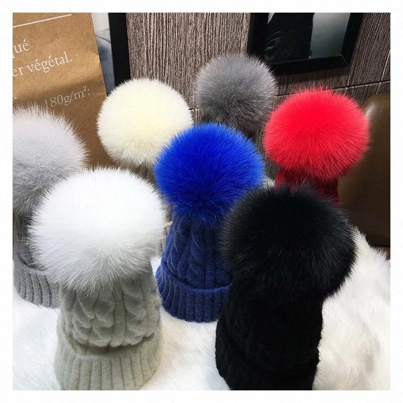 Hiver chaud réel naturel fourrure PomPom Bonneterie Chapeaux Femmes Os rayé Ski Skullies Bonnet de fourrure amovible boule Cap LhjJ #