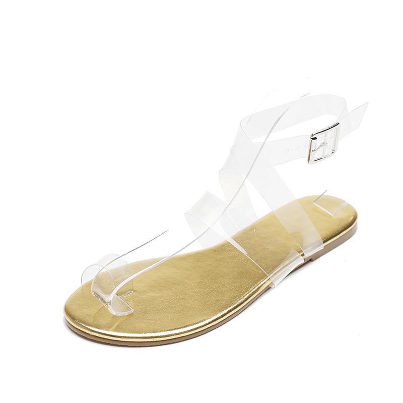 Les femmes de taille plus sandales transparentes bracelet perspective sexy couleur design sandales quotidienne dropship romaine