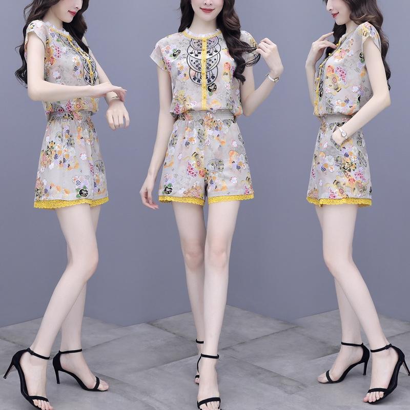IblY9 nbCHi Новых женских шорт из двух частей брюки дворец лета вышитых шорт стиля вышитых топ Топ вскользь женщины способа для костюма