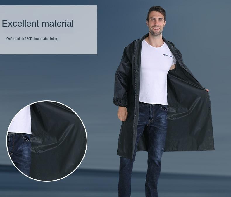 EkdYA Mid-comprimento de uma peça ao ar livre anti-motim adulto de trabalho engrossado longa capa impermeável Windbreaker blusão protecção poncho capa de chuva