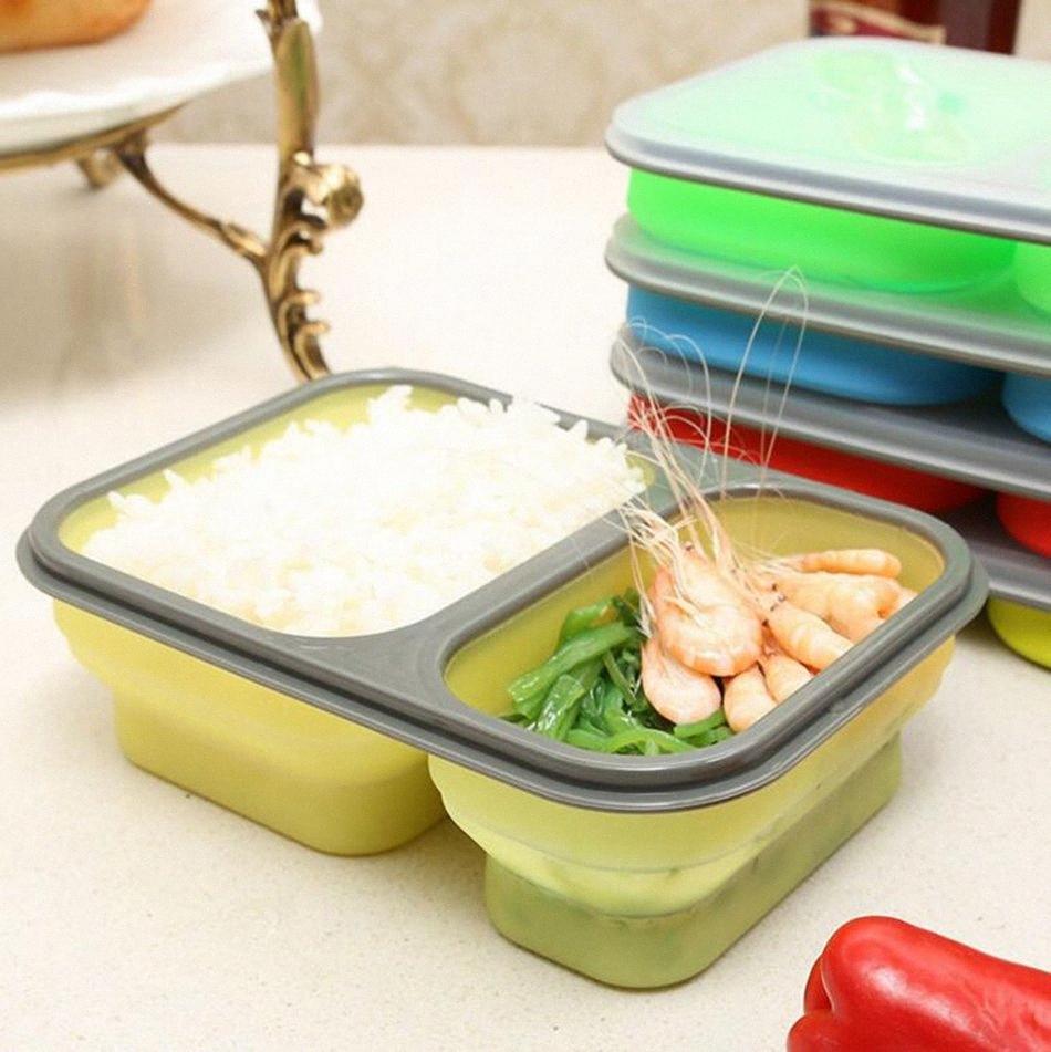 De silicona plegable portátil caja de Bento 2 células de microonda tazón plegable del almacenaje del alimento envase del almuerzo Lunchbox 60pcs OOA2172 LqsC #